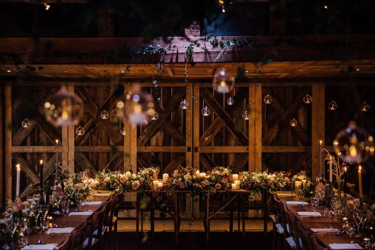Candlelit wedding breakfast at Dewsall Court