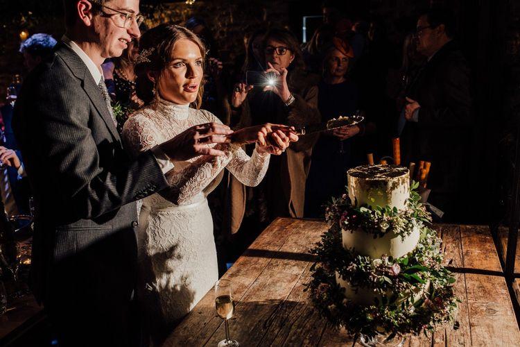 Cake cutting at January Wedding