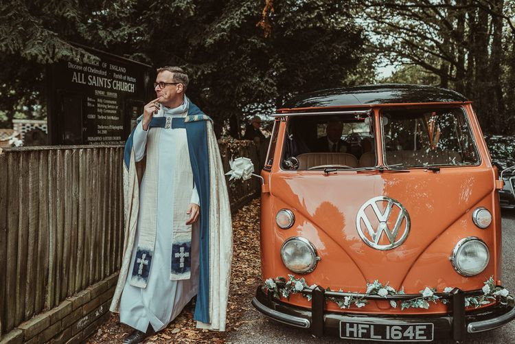 Orange Vintage VW Camper For Wedding // Bride In Bouret Separates For An Autumn Wedding At Old Brook Barn With Bridesmaids In Black Reiss Dresses And Images From Jess Soper Photography