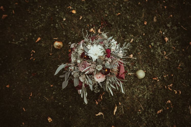 Autumnal Wedding Bouquet // Bride In Bouret Separates For An Autumn Wedding At Old Brook Barn With Bridesmaids In Black Reiss Dresses And Images From Jess Soper Photography