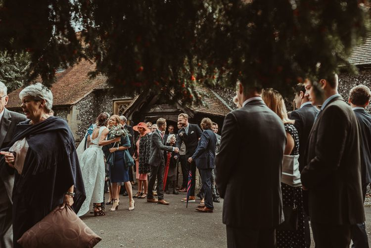Church Wedding // Bride In Bouret Separates For An Autumn Wedding At Old Brook Barn With Bridesmaids In Black Reiss Dresses And Images From Jess Soper Photography