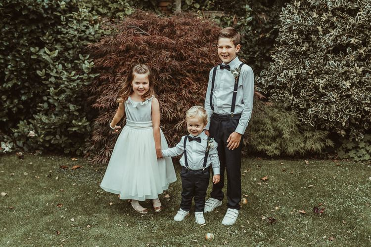 Flower Girl And Page Boys In Grey // Bride In Bouret Separates For An Autumn Wedding At Old Brook Barn With Bridesmaids In Black Reiss Dresses And Images From Jess Soper Photography