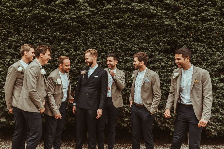 Groom & Groomsmen In Reiss And River Island // Bride In Bouret Separates For An Autumn Wedding At Old Brook Barn With Bridesmaids In Black Reiss Dresses And Images From Jess Soper Photography