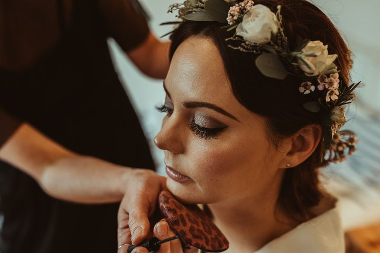 Bride With Smokey Eye For Wedding // Bride In Bouret Separates For An Autumn Wedding At Old Brook Barn With Bridesmaids In Black Reiss Dresses And Images From Jess Soper Photography