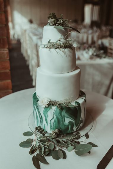 Marbled Iced Wedding Cake // Bride In Bouret Separates For An Autumn Wedding At Old Brook Barn With Bridesmaids In Black Reiss Dresses And Images From Jess Soper Photography