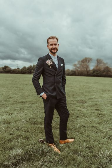 Groom In Reiss Suit // Bride In Bouret Separates For An Autumn Wedding At Old Brook Barn With Bridesmaids In Black Reiss Dresses And Images From Jess Soper Photography
