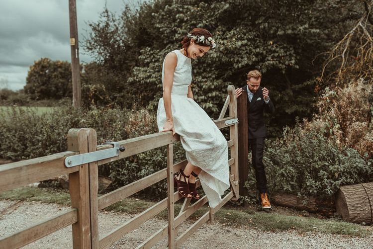 Bride In Bouret Separates For An Autumn Wedding At Old Brook Barn With Bridesmaids In Black Reiss Dresses And Images From Jess Soper Photography
