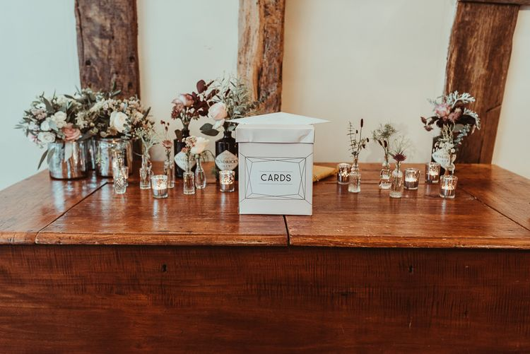 Card Table For Wedding With Bud Vase Floral Arrangements // Bride In Bouret Separates For An Autumn Wedding At Old Brook Barn With Bridesmaids In Black Reiss Dresses And Images From Jess Soper Photography