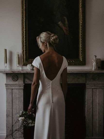 Low Back Simple Wedding Dress With Cap Sleeves and Buttons