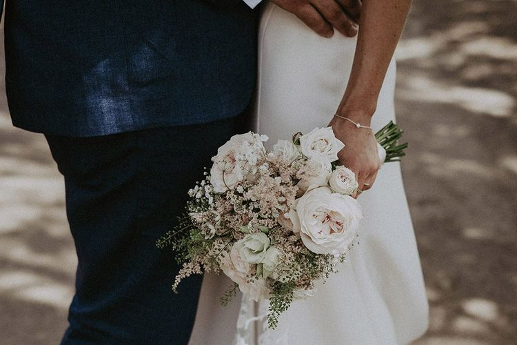 Beautiful White and Pale Pink Wedding Bouquet