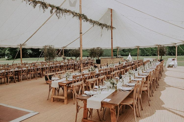 Wedding Table Scape In Marquee Reception