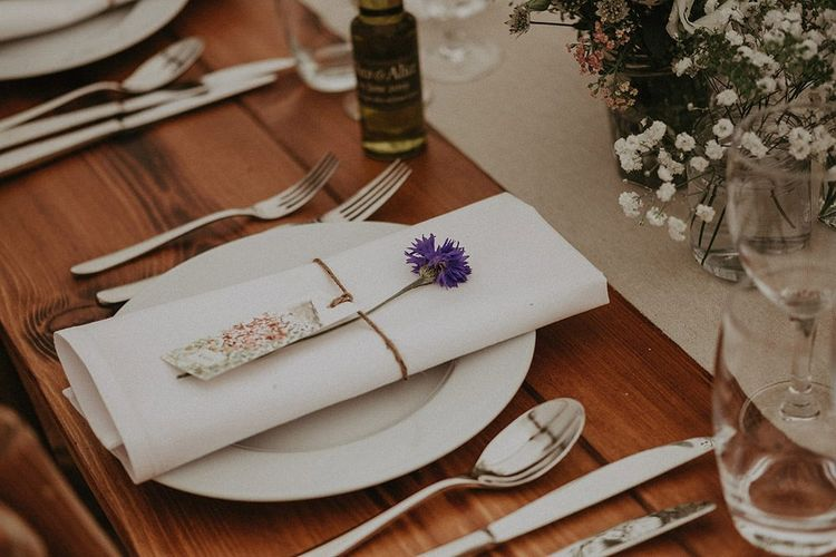 Table Place Setting With Simple Flower Decor