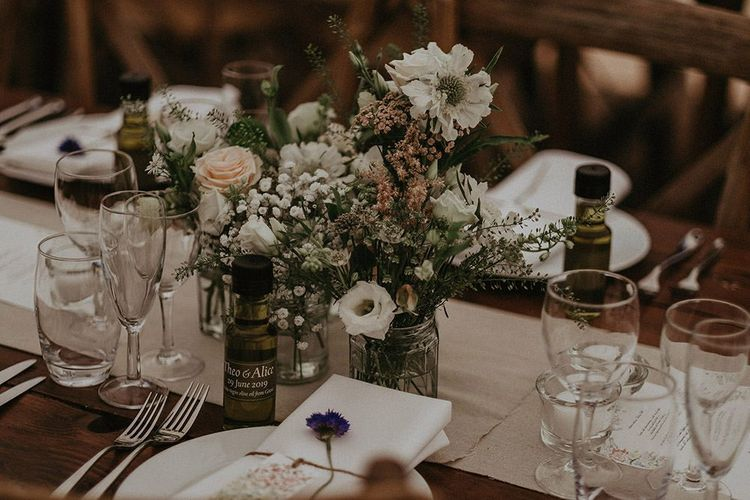 Wedding Table Decor With Flowers in Jars