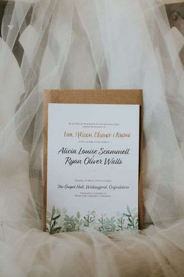Wedding Invitation with Script Font and Craft Paper Envelope