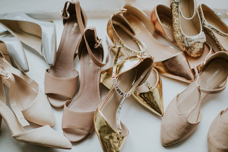 Collection of Nude and Gold Bridesmaid Shoes