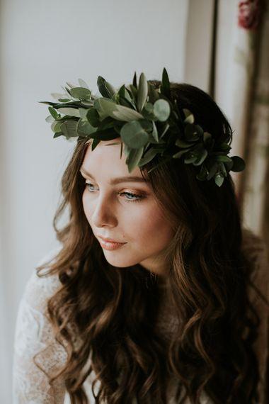 Beautiful Boho Bride with Wavy Hair and Laurel Flower Crown