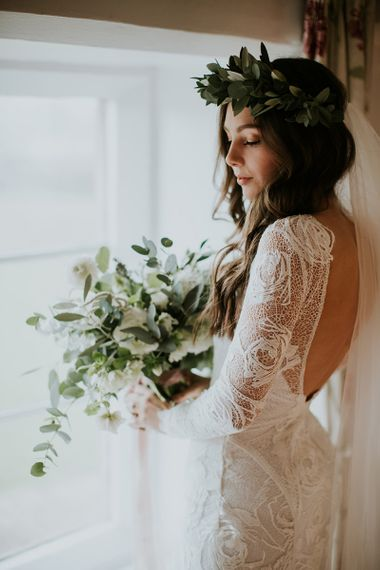 Boho Bride in Long Sleeve and Backless Grace Loves Lace Wedding Dress