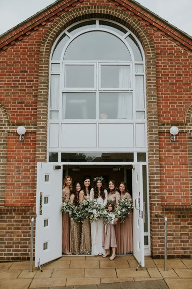 Bridal Party in Blush Pink and Sequin Gold Dresses