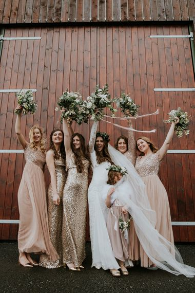 Bridal Party with Bridesmaids in Gold Sequin Dresses and Blush Tulle & Sequin Dresses