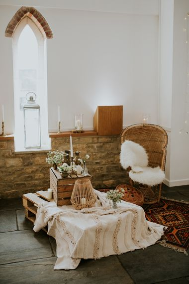 Moroccan Rug, Peacock Chair, Wooden Pallet & Crate Wedding Decor