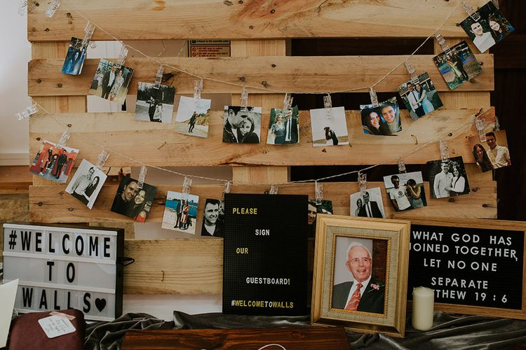 Polaroid Station Guest Book with Lightbox  & Peg Board Wedding Sign