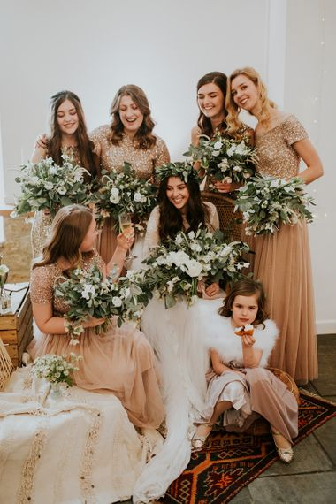 Bridal Party with Bride in Grace Loves Lace and Bridesmaids in Blush Pink