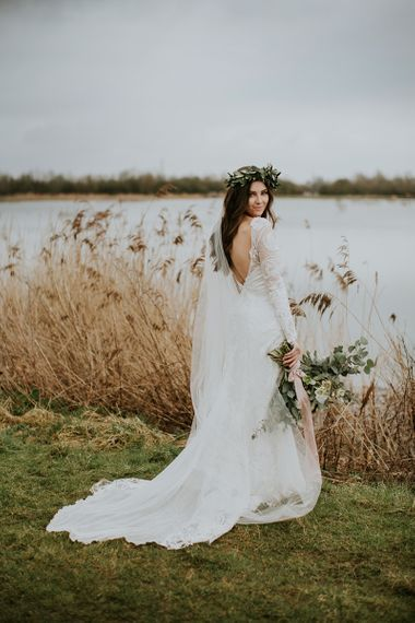 Bride in Long Sleeve and Backless Grace Loves Lace Wedding Dress