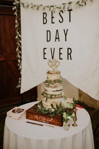 Semi Naked Wedding Cake with Greenery Decor