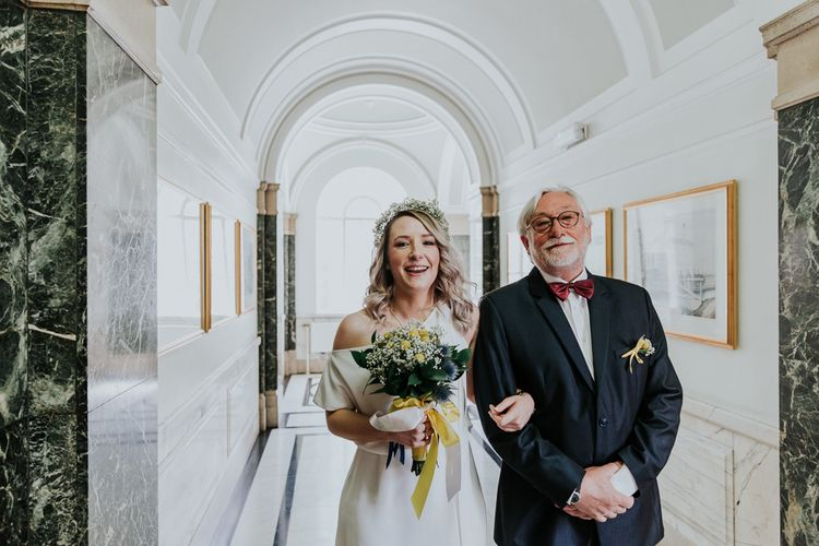 Wedding Ceremony Bridal Entrance in Agata Wojtkiewicz Atelier Bridal Gown | Stylish Intimate London Elopement at Islington Town Hall & The Elk in the Woods | Joasis Photography