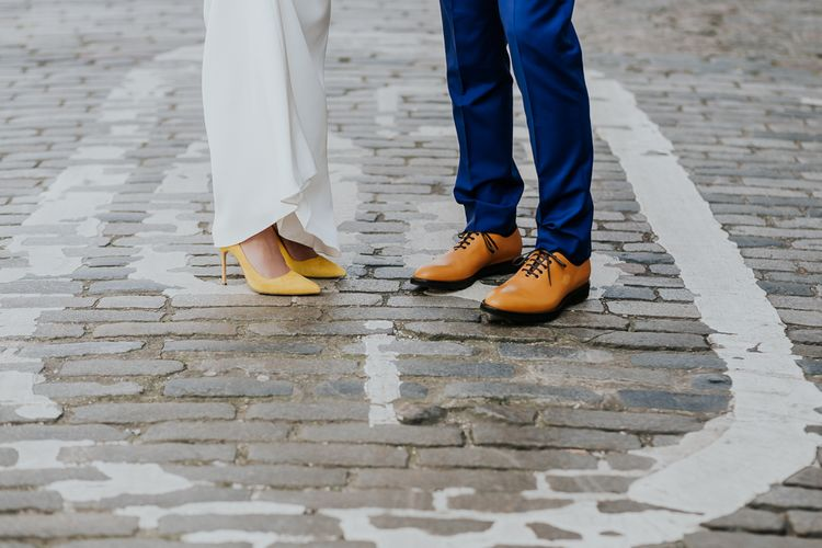 Yellow Manolo Blahnik Bridal Shoes | Dolce & Gabbana Groom Shoes | Stylish Intimate London Elopement at Islington Town Hall & The Elk in the Woods | Joasis Photography