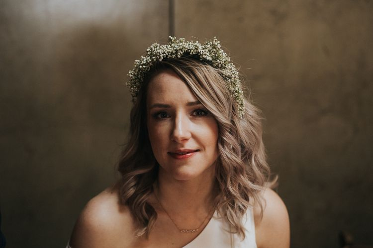 Gypsophila Flower Crown | Bride in Agata Wojtkiewicz Atelier Bridal Gown | Stylish Intimate London Elopement at Islington Town Hall & The Elk in the Woods | Joasis Photography