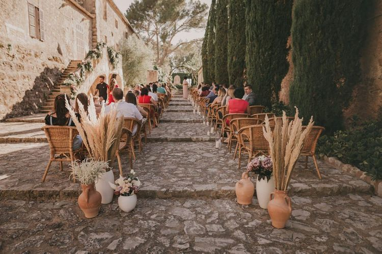 Wedding ceremony set up for outdoor destination wedding