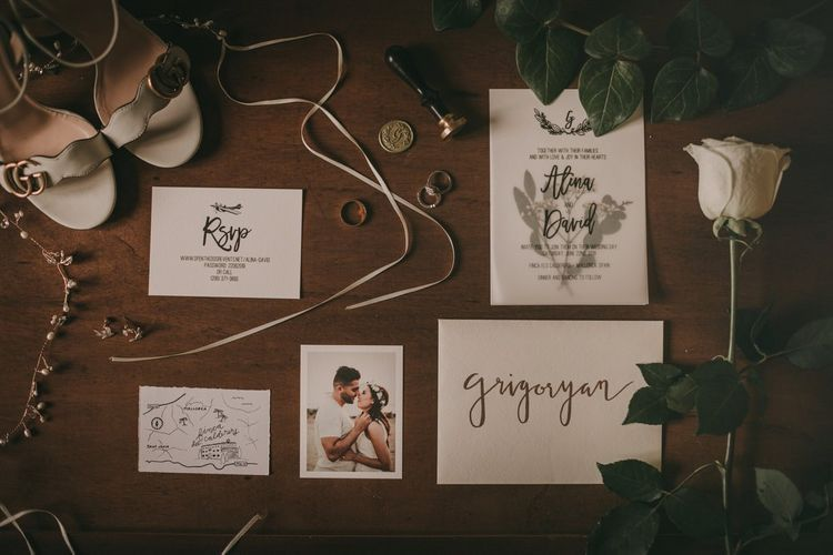 Wedding stationery and Gucci wedding shoes