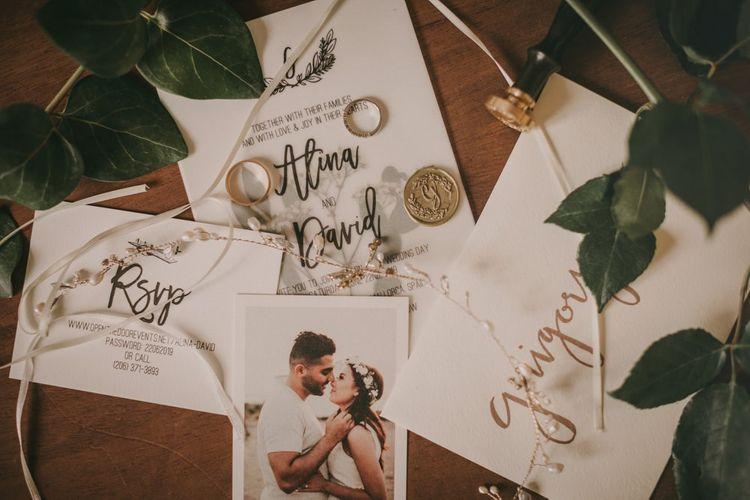 Wedding stationery with wedding rings