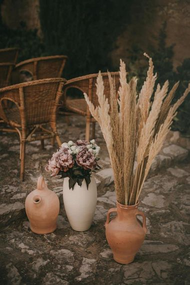 Pampas grass and flower wedding decoration
