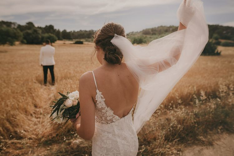 Low back lace wedding dress with veil