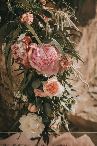 Pink wedding flowers at destination wedding