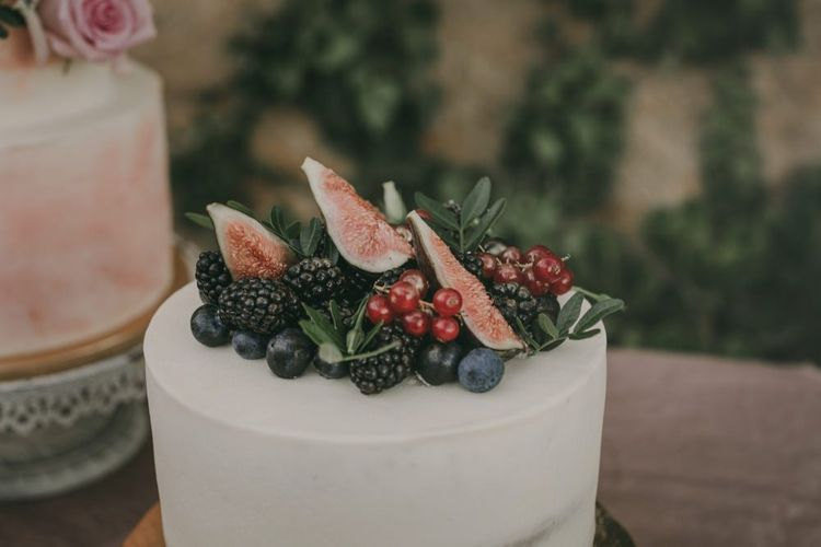 Wedding cake with fruit topper