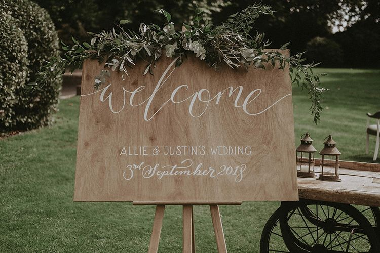 Wooden Calligraphy Welcome Sign