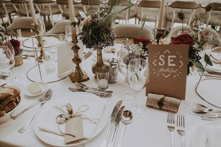 Table Names and Place Settings with Compass Motif