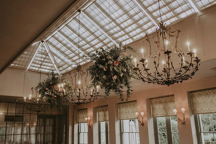 Suspended Floral Globes in Dining Room at Babington House