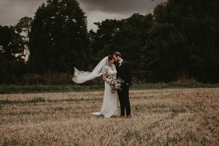 Bride and Groom Wedding Portrait in English Countryside