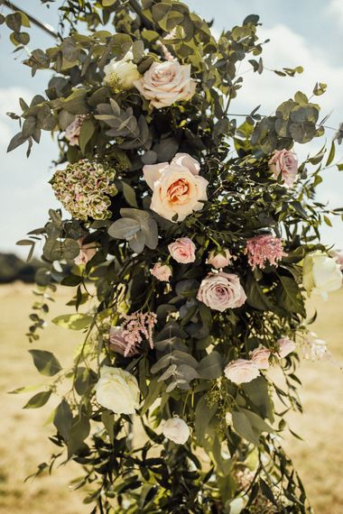 Floral Arch For Wedding Ceremony // Yurt Wedding With Outdoor Humanist Ceremony Bride In Jenny Packham And Groom In Top Hat With Images From Michelle Wood Photographer