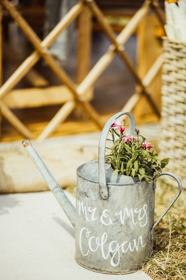 Metal Watering Can Wedding Decor Yurt Wedding With Outdoor Humanist Ceremony Bride In Jenny Packham And Groom In Top Hat With Images From Michelle Wood Photographer
