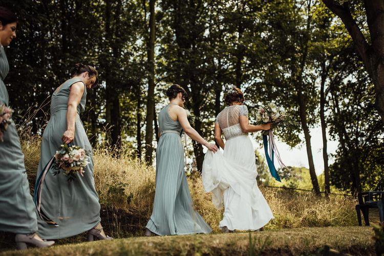 Bride In Embellished Jenny Packham Wedding Dress // Yurt Wedding With Outdoor Humanist Ceremony Bride In Jenny Packham And Groom In Top Hat With Images From Michelle Wood Photographer