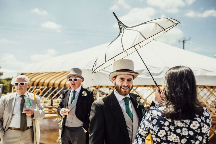 Parasols For Summer Wedding // Yurt Wedding With Outdoor Humanist Ceremony Bride In Jenny Packham And Groom In Top Hat With Images From Michelle Wood Photographer
