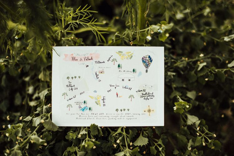 Illustrated Wedding Stationery // Yurt Wedding With Outdoor Humanist Ceremony Bride In Jenny Packham And Groom In Top Hat With Images From Michelle Wood Photographer