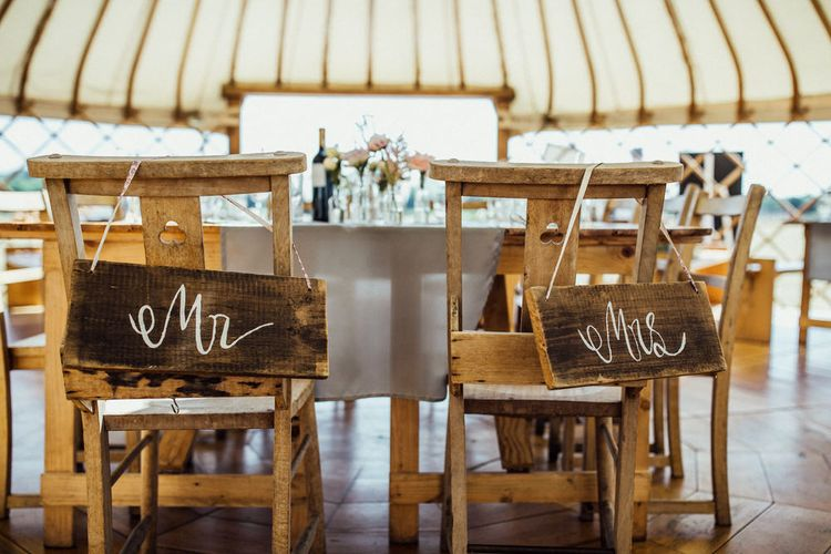 Mr & Mrs Signs For Chairs At Weddings // Yurt Wedding With Outdoor Humanist Ceremony Bride In Jenny Packham And Groom In Top Hat With Images From Michelle Wood Photographer