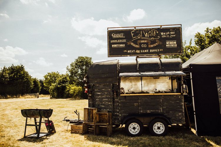 Street Food Van For Wedding // Yurt Wedding With Outdoor Humanist Ceremony Bride In Jenny Packham And Groom In Top Hat With Images From Michelle Wood Photographer