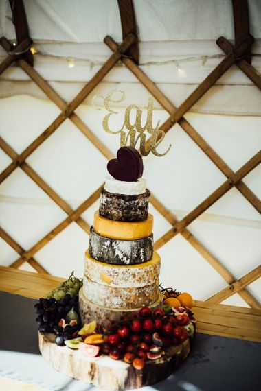 Cheese Tower Wedding Cake // Yurt Wedding With Outdoor Humanist Ceremony Bride In Jenny Packham And Groom In Top Hat With Images From Michelle Wood Photographer